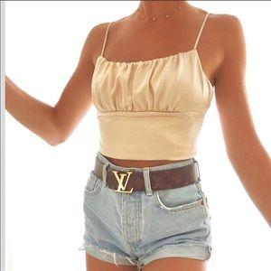 Zara camisole soft gold med crop top NWT